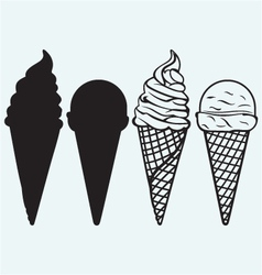 Sorts of ice cream in a waffles vector