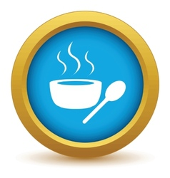 Gold soup icon vector