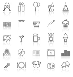 New year line icons with reflect on white vector