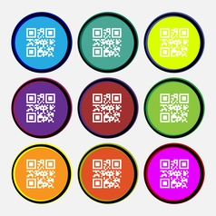 Qr code icon sign nine multi colored round buttons vector