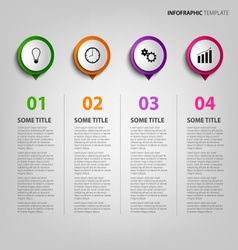 Info graphic with colored circular pointers vector