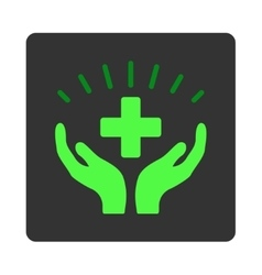 Medical prosperity flat button vector