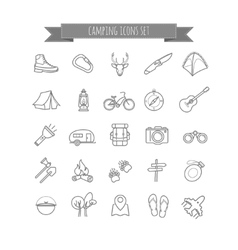 Camping summer icons set vector
