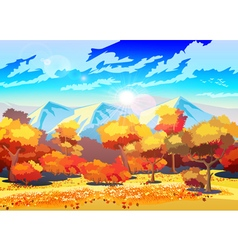 Autumn forest in the sun vector