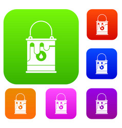 bucket with paint set collection vector image