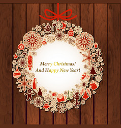 christmas card with vintage wreath label on wood vector image
