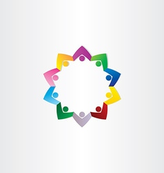 Circle people teamwork star icon vector