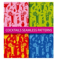 Cocktails seamless patterns vector