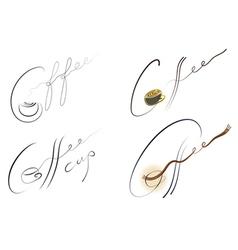 coffee handwritten sign set vector image vector image