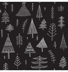 decorated christmas trees seamless pattern black vector image vector image