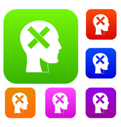 human head with cross inside set color collection vector image
