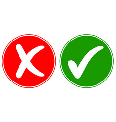 icons check mark tick and cross cancel vector image