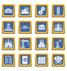 Industry icons set blue vector