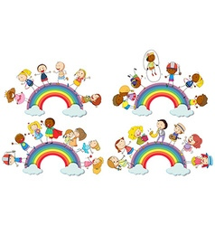 Kids standing on rainbow vector