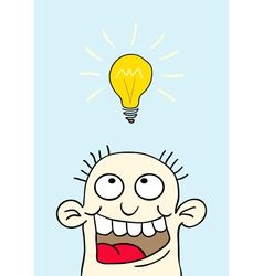 light bulb over your head vector image vector image