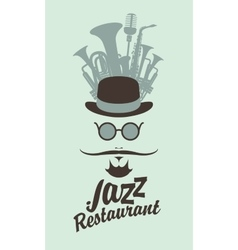 Man face in jazz restaurant vector