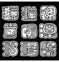 Maya glyphs writing system and languge design vector image