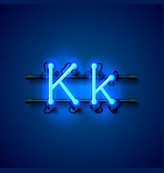neon font letter k art design singboard vector image