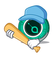 Playing baseball siacoin character cartoon style vector