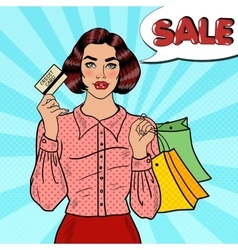 Pop Art Woman with Shopping Bags and Credit Card vector image