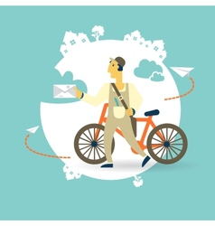 postman a bike with a letter icon vector image vector image