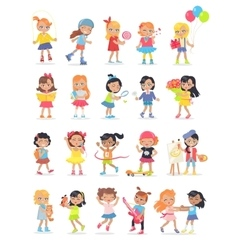 Set of girls having leisure time during break vector