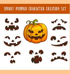 spooky traditional halloween pumpkin character vector image