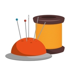 Spool of thread and pincushion vector