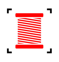 Thread sign red icon inside vector