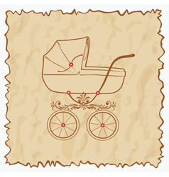 Vintage baby carriage eps10 vector image