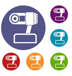 webcam icons set vector image vector image