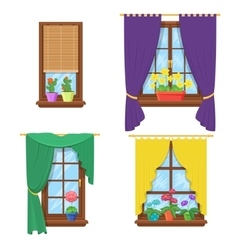 Windows with curtains and flowers set vector image vector image