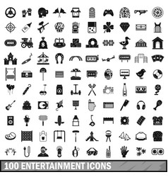 100 entertainment icons set simple style vector image vector image