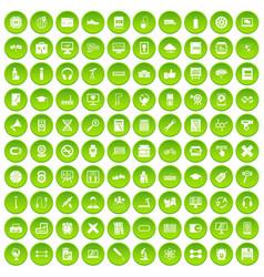 100 training icons set green circle vector