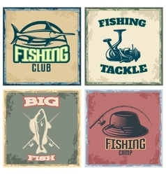 Fishing colored compositions vector