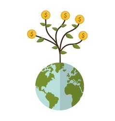 earth globe money plant icon vector image