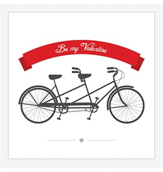 Postcard with vintage tandem bicycle vector image