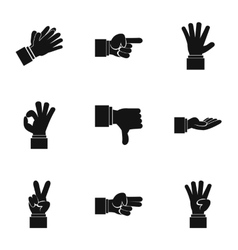Communication gestures icons set simple style vector