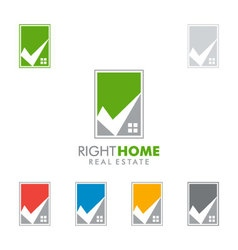 Real estate logo design with home and check vector