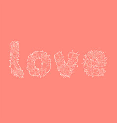 Word love on red vector