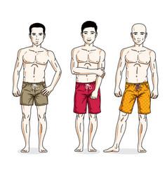 Happy men posing with athletic body wearing beach vector