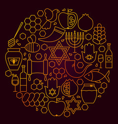 rosh hashanah line icon concept vector image