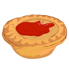 Meat Pie with Tomato Sauce vector image