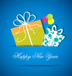 Two new year gift from white paper new year card vector