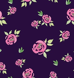 Seamless pattern watercolor flowers vector