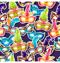 Celebration festive pattern with carnival masks vector