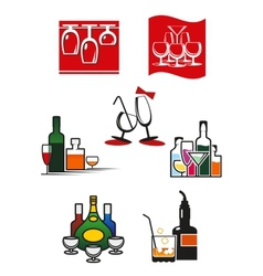 Glasses and alcohol icons or symbols vector