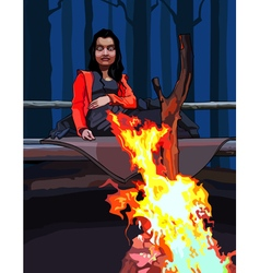 Cartoon woman sitting around a campfire vector