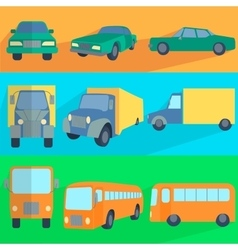 Flat set icons symbols car truck bus vector
