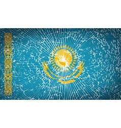 Flags kazakhstan with broken glass texture vector